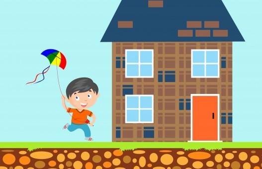 Enfants,Cerf-volant,maison,bonheur,jouet,garçon